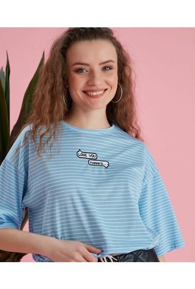 Noa Noa Love You Nakışlı ,yarım Kol ,beli Büzgü Detaylı ,çizgili T-Shirt