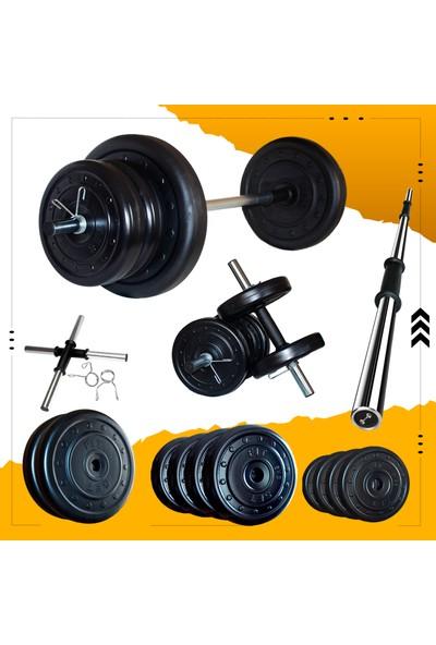 Fitset 53 kg Halter Seti ve Dambıl Seti Ağırlık Fitness Seti
