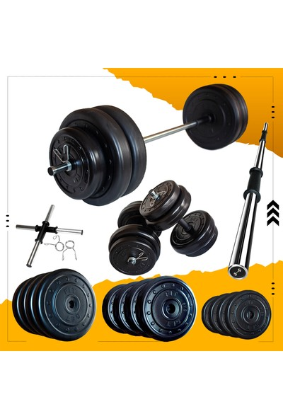 Fitset 73 kg Halter Seti ve Dambıl Seti Ağırlık Fitness Seti