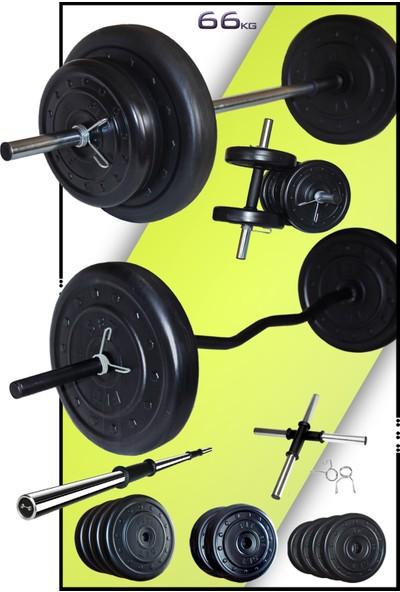 Fitset 66 kg Z Barlı Halter Seti ve Dambıl Seti Ağırlık Fitness Seti