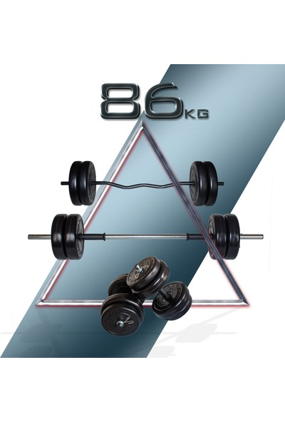 Fitset 86 kg Z Barlı Halter Seti ve Dambıl Seti Ağırlık Fitness Seti