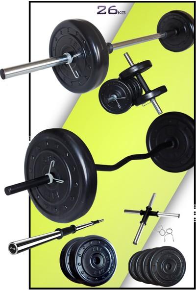 Fitset 26 kg Z Barlı Halter Seti ve Dambıl Seti Ağırlık Fitness Seti