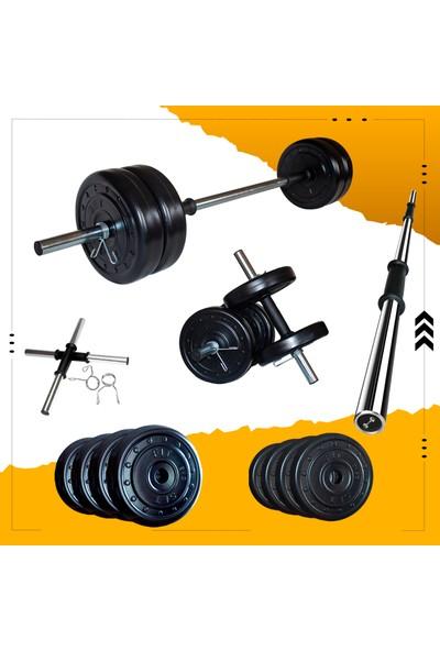 Fitset 33 kg Kombo Halter Seti ve Dambıl Seti Ağırlık Fitness Seti