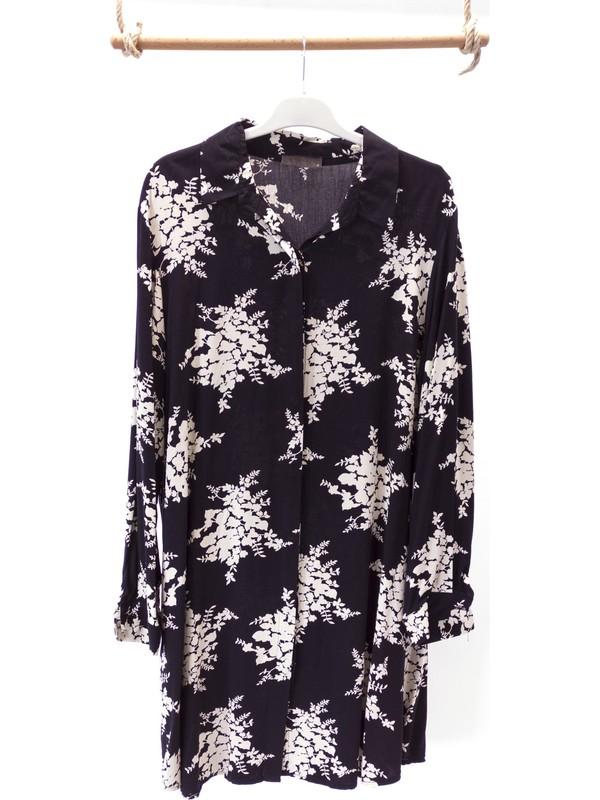 Oppland Kadın Siyah Anne Gömlek Tunik Boydan Düğmeli Üzüm Salkım Desenli