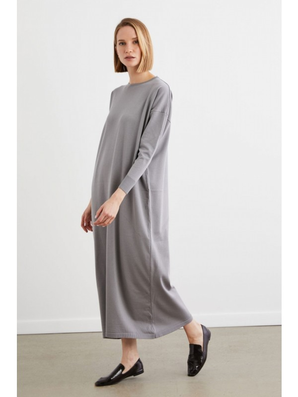 Terzi Dükkanı Elegance Merserize Triko Elbise Gri
