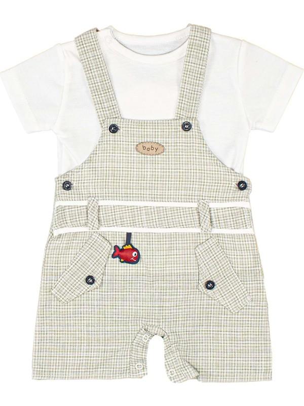 Nono Baby Erkek Bebek Salopet&tulum Küçük Kareli Cepli Aksesuarlı - Yeşil - 6-9 Ay