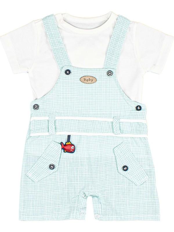 Nono Baby Erkek Bebek Salopet&tulum Küçük Kareli Cepli Aksesuarlı - Mavi - 9-12 Ay
