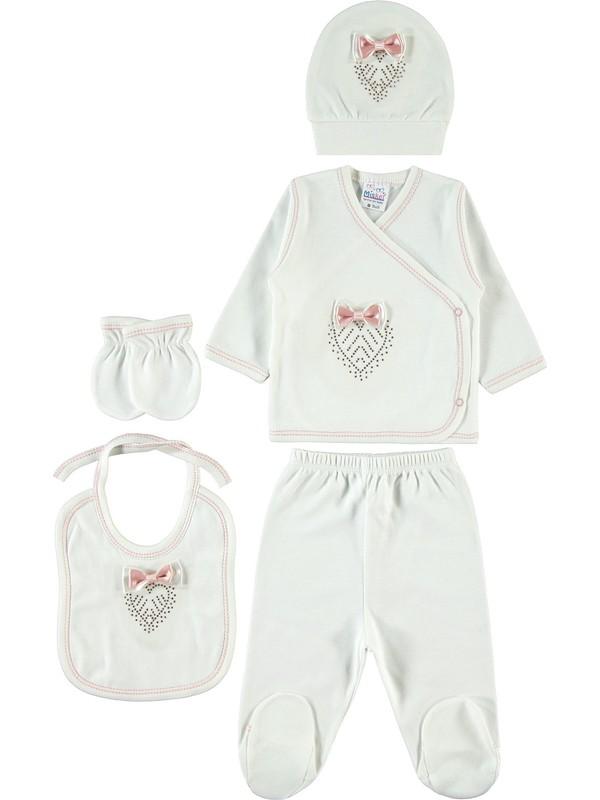 Misket Kız Bebek 5'li Zıbın Takımı Ekru