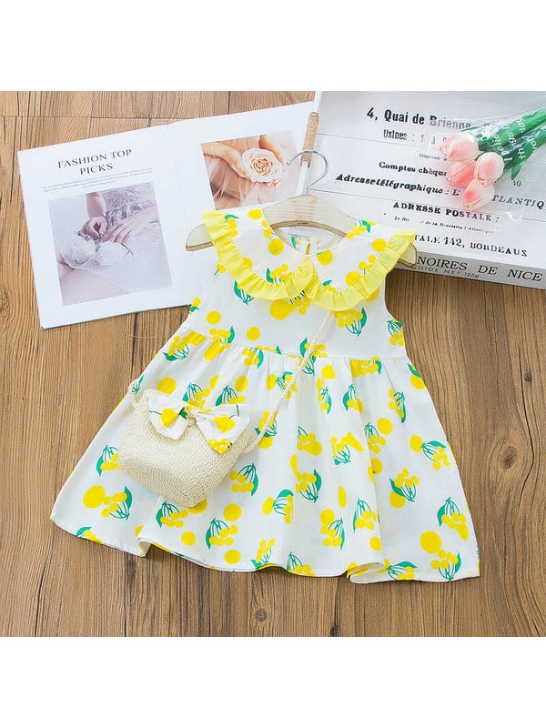 Little Honey Bunnies Sarı Kiraz Desenli Elbise ve Çanta 2'li Set