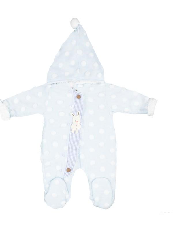 Nono Baby Kız-Erkek Bebek Wellsoft Takım Şapkalı Puantiyeli - Mavi - 0-3 Ay