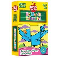 Yapboz Kartlar: Üç Harfli Kelimeler Oyna - Eğlen - Öğren - Zeka Geliştir (Süper Çocuk Serisi)-Kolektif