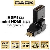 Dark Mini HDMI 270° Derece Dönüştürücü Dirsek (mini HDMI Erkek - HDMI Dişi) (DK-HD-AFXMM270TV)