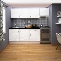 FLY Sofya 240 Cm Beyaz Hıghgloss Kapaklı Mutfak Dolabı FLY180280
