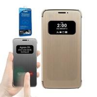 Teleplus Lg G5 Sensörlü Pencereli Kılıf Kapak Gold + Cam Ekran Koruyucu