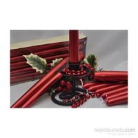 Horizon Mum Şamdan Mum 10 Lu Metalik Kırmızı