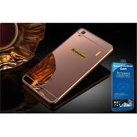 Teleplus Lenovo A7000 Aynalı Metal Kapak Kılıf Rose Gold + Cam Ekran Koruyucu