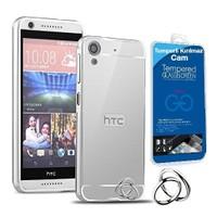 Teleplus Htc One M8 Aynalı Metal Kapak Kılıf Gümüş + Cam Ekran Koruyucu
