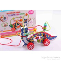 Wooden Toys Dinosaur Drag Around The Beads