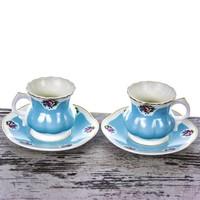 Mukko Home 2 Kişilik Lüks Porselen Kontes Kahve Fincan Takımı - Mavi