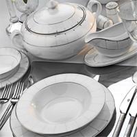 Kütahya Porselen Transparant Bone 12 Kişilik 85 Parça Desenli Yemek Takımı