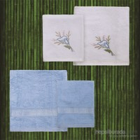 Taç Casabel Bambu Havlu Seti Stella Beyaz&Mavi