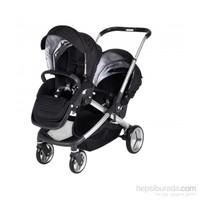 Prego 2072 İbiza İkiz Bebek Arabası Siyah