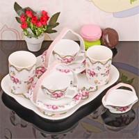 İhouse11802 Porselen Kahve İkram Seti Beyaz