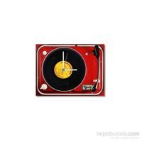 Tictac Gerçek 45'Lik Plaklı Pikap Görünümlü Kanvas Saat - Kırmızı