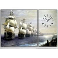 Tictac Gemiler - 2 Parçalı Asimetrik Kanvas Saat Büyük Boy