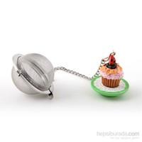 Çay Süzgeci, Polirezen Dekorlu Pembe Cup Cake