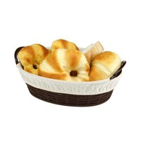BO666 - Hasır Desenli Ekmek Sepeti Oval - Bez Kaplamalı
