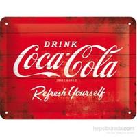 Cocacola Logo Red Metal Kabartmalı Pin Up Duvar Panosu