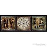 Ahşap Retro Style Duvar Saati 100X35x5cm