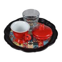 Biggdesign Anadolu Motifi Kahve Takımı Kırmızı