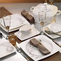 Kütahya Porselen Aliza Bone 12 Kişilik 83 Parça Desenli Yemek Takımı