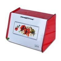Cebay Home Ahşap Ekmek Kutusu Gelincik Kırmızı Beyaz