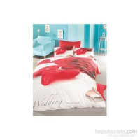 Victoria 3 Boyutlu Luxurt Saten Çift Kişilik Nevresim Takımı Valentine