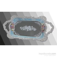 Polyester Tepsi Mavi Çiçekli Aynalı Küçük