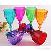 Mos'Ev Dıamond 6 Renk 6'lı Ayaklı Şarap Bardağı