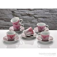 iHouse Cky01-E Porselen 6 Lı Fincan Seti Pembe