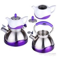 iHouse 7251-Çaydanlık Seti Çaydanlık 3Lt,Demlik 0,75Lt-Lila