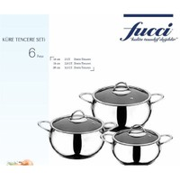 Fucci Manolya 6 Parça Küre Çelik Tencere Set