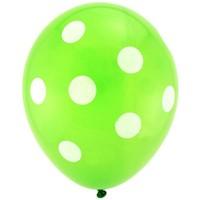 Pandoli Yeşil Beyaz Puanlı Baskılı Latex Balon 10 Adet