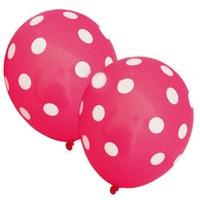 Pandoli 10 Adet Şeker Pembesi Beyaz Puanlı Baskılı Latex Balon