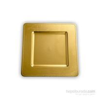 Kancaev Dekoratif Plastik Supla/Tabak Altlığı Kare Kenarı Toplu - Altın 6'Lı Set