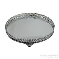 Cosiness Büyük Boy Yuvarlak Gümüş Yaldız Motifli Aynalı Tepsi