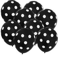 Pandoli 100 Adet Siyah Beyaz Puanlı Baskılı Latex Balon