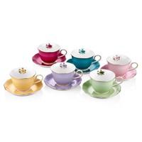 Cemile Asorti Renkli Çiçekli 6'Lı Çay Fincanı (6)