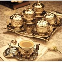 Sena Kare Tiryaki 6'Lı Kahve Seti Tepsili Hilalli Nikel
