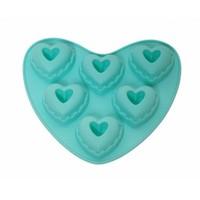 Atadan 6 Lı Kalp Silikon Kek Kalıbı-Mavi